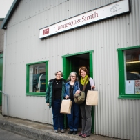 Kate (right) with her friends Kathy, Deb, and Susan (not pictured) in Lerwick, Shetland.
